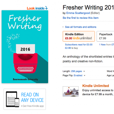 Fresher Writing 2016 is now available as an ebook from Kindle
